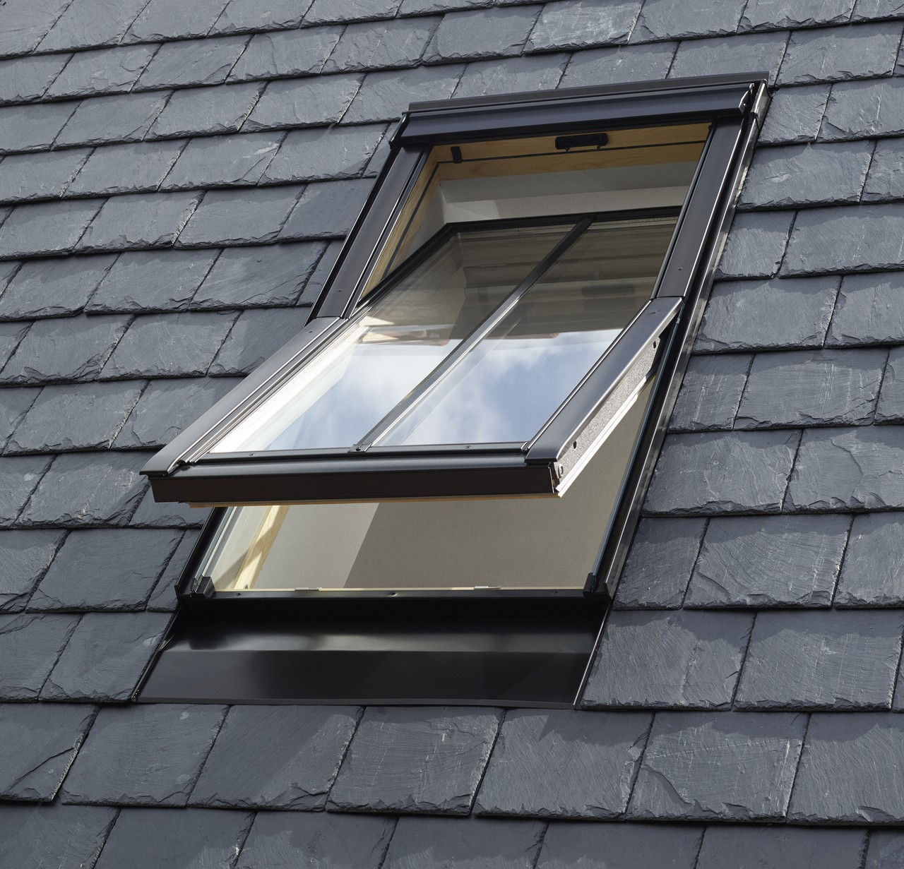 VELUX Centre Pivot conservation roof windows in position