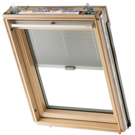 Keylite Clear Lacquered Pine Centre Pivot Roof Window - Electric Integral Blind with Remote Control - CP EIR